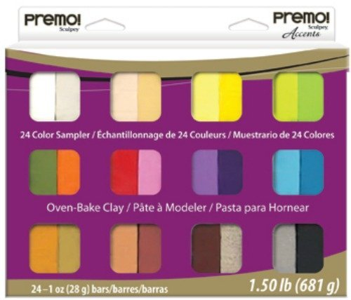 (Polyform Premo Clay Sampler Pack, Assorted Colors, 24-Pack)