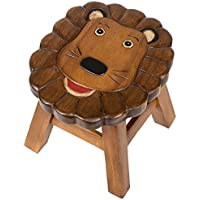 Lion Design Hand Carved Acacia Hardwood Decorative Short Stool