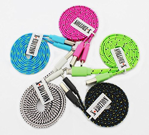 X-EDITION [ 5pcs pack] Colors Ruggedized Noodle Flat Braided Fabric Universal USB A to Micro B charger Data Sync Charging Cable Cord Accessories For Nokia Google Nexus 4 5 6 LG G2 G3 HTC One MAX M7 M8 M9 Samsung Galaxy S3 S4 S5 S6 edge mini A5 A6 A7 Note 2 3 4 BLU Life Play Pure Advance 4.0 Studio X Energy 5.0 5.0ce 5.0c 5.5 6.0 7.0 Vivo Air Sony Lumia Motorola Andriod divice windows phone (Black White Green Blue Hotpink)
