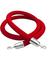 """Crowd Control Stanchion Queue Barrier Post 60"""" Red Velvet Rope 12004-9-2"""