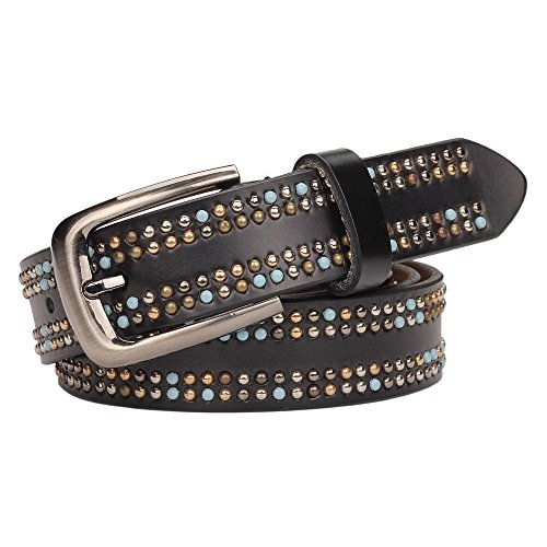 YUI Rivets Studded Top-grain Leather Belt With Pin Buckle for Women