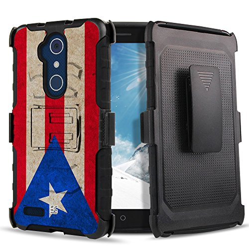 1 Belt 3 Flags (Spots8 Case For ZTE Grand X Max 2, Imperial Max, Kirk, Blade X Max Z983, ZMAX Pro, Blade Max 3, Max Duo, MAX XL, Dual layer Hybrid Phone Case With Kickstand Belt Swivel Clip Puerto Rico Flag)
