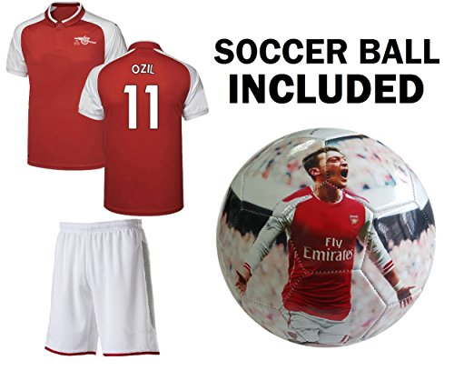 OZIL jersey Youth #11 Kids Soccer Jersey + Shorts + Ball Premium Gift Set✓ Mesut Ozil #11 Soccer Ball Size 5 Football jersey kit Futbal Great Gift for Boys (YL 10-13 years, Jersey + Ball)