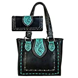 Trinity Ranch by Montana West Tote Handbag Wallet Set Western Tooling TR57-8390 (Black)
