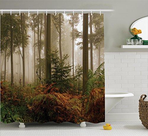Dark Brown Forest Green - Ambesonne Farm House Decor Collection, Mystical Dark Fog Atmosphere Deep in the Forest Woodland Nobody Silence Image, Polyester Fabric Bathroom Shower Curtain Set with Hooks, Brown Orange Green