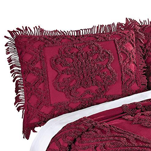 - Elegant Chenille Lattice Scroll Design with Fringe Pillow Sham, Red, Sham
