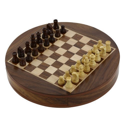 Purpledip Mini Chess Set with Wooden Pieces and Round Board: Strategy Board Game with Universal Rules; Loved Alike by Kids and Adults of All Ages (10414) (Boxwood Standard Chess Pieces)