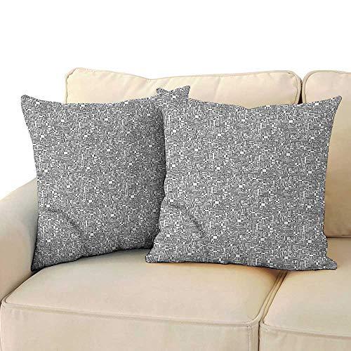 RuppertTextile Black and White Creative Pillowcase Hi-Tech Pattern Soft and Durable W13 x - Georgia Pillowcase Tech