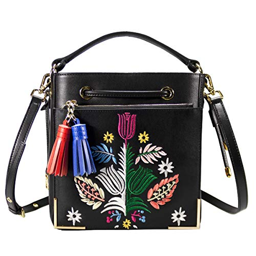Shoulder Bag Drawstring Floral (DelleVEGA Women's Leather Handbags Fashion Bucket Purse Floral Embroidery Shoulder Bag with Drawstring Crossbody Bag (large))
