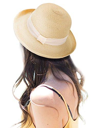 Jasmine Womens Lightweight Packable Bucket Straw Sun Hat with Decorative Ribbon