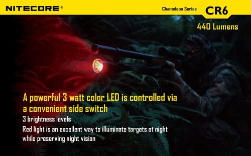 Nitecore Bundle Chameleon CR6 440 Lumens Red White Dual Beam LED Flashlight Hunting Light w RGB Color Light, 2X CR123A Batteries, Holster Lumentac Keychain Light