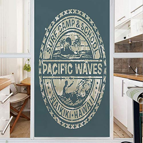 Decorative Window Film,No Glue Frosted Privacy Film,Stained Glass Door Film,Pacific Waves Surf Camp and School Hawaii Logo Motif with Artsy Effects Design,for Home & Office,23.6In. by 35.4In Khaki Sla
