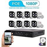 LOOSAFE 8CH 1080P POE NVR Security Camera System NVR with 2TB Hard Drive 8PCS 2.0Mega-Pixels 1920X1080 High Resolution CCTV IP Surveillance Cameras