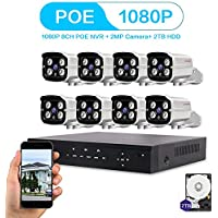 LOOSAFE 8CH 1080P POE NVR Security Camera System NVR with 2TB Hard Drive 8PCS 2.0Mega-Pixels 1920X1080 High Resolution CCTV IP Surveillance Cameras