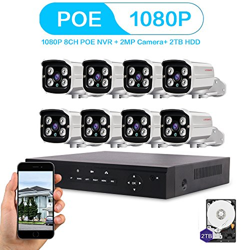 LOOSAFE 8CH 1080P POE NVR Security Camera System NVR with 2TB Hard Drive 8PCS 2.0Mega-Pixels 1920X1080 High Resolution CCTV IP Surveillance Cameras by Loosafe