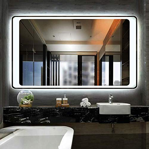Rectangle Backlit Bathroom Mirror with LED Lighted Easy to Install Illuminated Hanging -