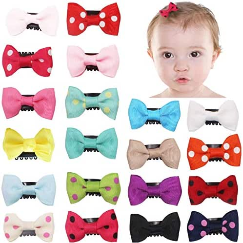 20Pcs Tiny Baby Hair Clips for Fine Hair Boutique Grosgrain Ribbon Hair Bows Clips Barrettes Accessories For Baby Girls Newborn Infant Toddlers