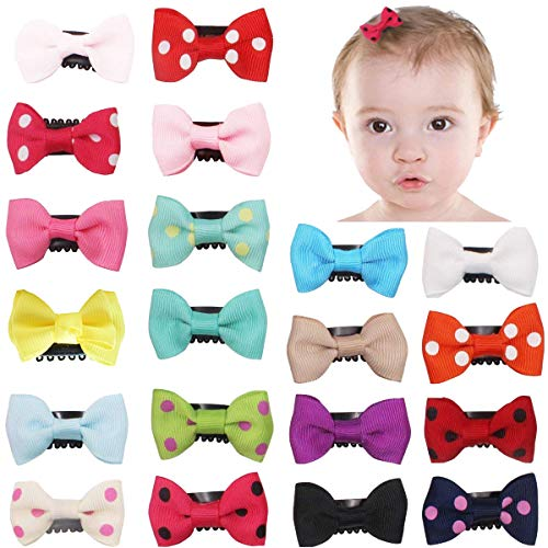 20Pcs Tiny Baby Hair Clips for Fine Hair Boutique Grosgrain Ribbon Hair Bows Clips Barrettes Accessories For Baby Girls Newborn Infant Toddlers ()