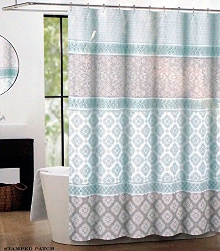 Max Studio Fabric Shower Curtain Light Green and Gray Stamped Patch (Curtain Gray And Shower Green)