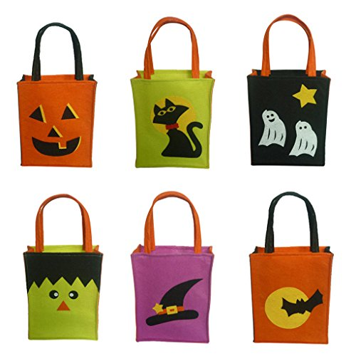 Jili Online Pieces of 6 Non-woven Fabric Mixed Style Halloween Holiday Trick or Treat Loot Tote Bags with Handle Home Party Gift Bags by Jili Online (Image #3)