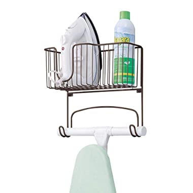 mDesign Wall Mount Ironing Board Holder Large Storage Basket - Holds Iron, Board, Spray Bottles, Starch, Fabric Refresher Laundry Rooms - Durable Steel, Bronze