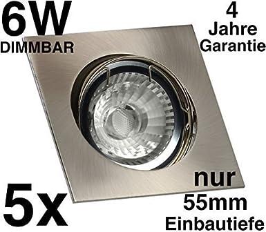 5x Led Einbaustrahler Flach 55mm 4 Jahre Garantie 230v Gu10