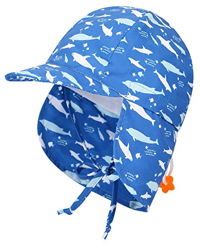 Livingston Infant Sun Flap Hat Toddler's UPF 50+ Sun Protective Hat w/Neck Flap,Shark