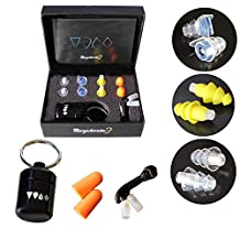 Ear Plugs Noise Reduction Reusable Set - 4 Pairs High Fidelity Ear Plugs Noise Reduction Sleeping, Musicians, Concerts, Swimming | Various Reduction Levels Premium Comfort, Corded with Case