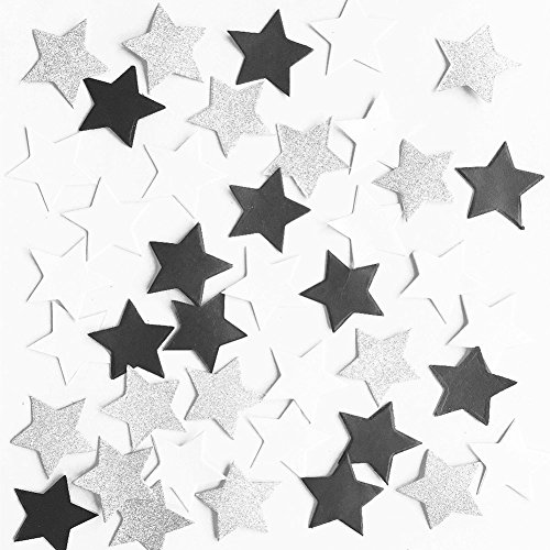Glitter Paper Twinkle Little Star Confetti Wedding Birthday Theme Party Table Decoration Glitter Silver, Black and White, 1.2 inch, 200pc