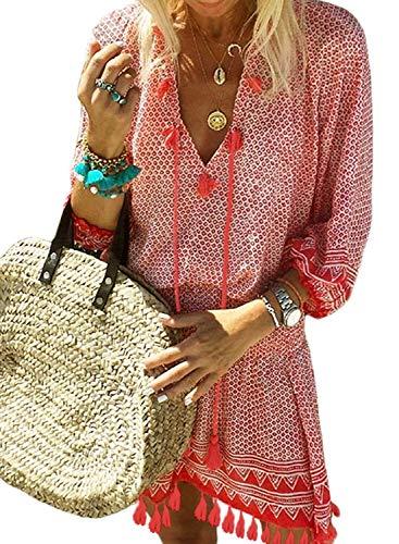 (Women's Summer Chiffon Swimsuit Cover up Crochet Beach Bikini Tassel Bathing Suit Swimwear Red Small)