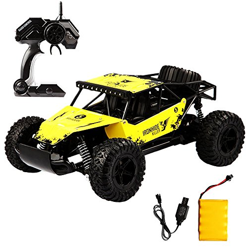 BigSmyo 2.4Ghz 4CH High Sped Remote Control Truck 1:16 Alloy Shell Monster Truck Off Road RC Car Rock Off-Road Vehicle 1:16 Alloy Shell Monster Truck Rechargeable Buggy Vehicle (Yellow)