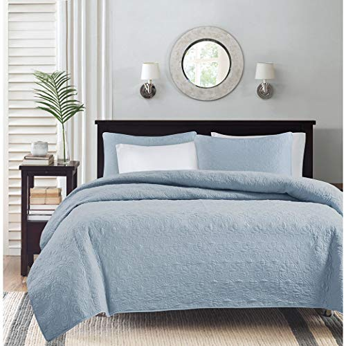 Madison Park Quebec Dusty Pale Blue 3-Piece Quilted King Coverlet Set-For King or Cal King Bed -Ideal For Warm Climate Room Décor or Add-on For Extra Warmth