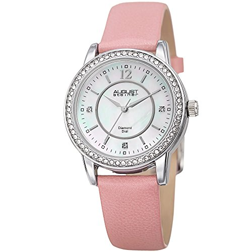 August Steiner Women's Quartz Stainless Steel and Leather Casual Watch, Color:Pink (Model: AS8227PK)