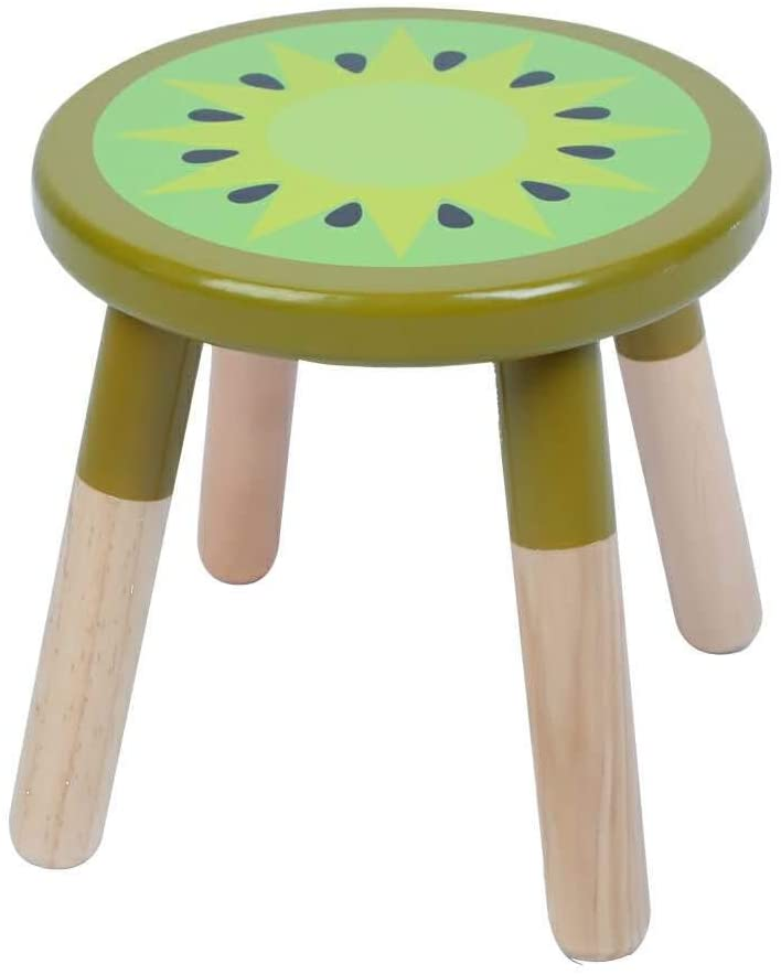 RUYU 9 Inch Kids Solid Hard Wood Fruit Chair, Crafted Hand-Painted Wood with Assembled Four-Legged Stool, Bedroom, Playroom, Lemon Furniture Stool for Kids, Children, Boys, Girls(Kiwi)