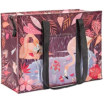 """Blue Q /""""Pretty Bird/"""" large zipper pouch case bag recycled 2-sided coloful"""
