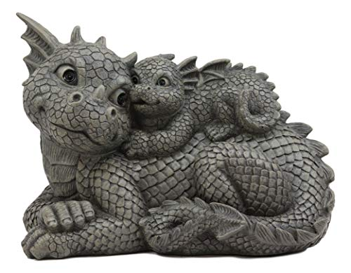 """Ebros Whimsical Piggyback Dragon Family Statue 10.25"""" Long Faux Stone Resin Finish Mother and Baby Animated Dragons Welcome Guest Greeter Decor Figurine from Ebros Gift"""