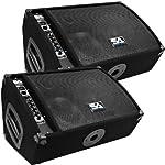 "Seismic Audio - FL-10MP-PW-Pair - Pair of Premium Powered 2-Way 10"" Floor / Stage Monitors with Titanium Horns by Seismic Audio Speakers, Inc."