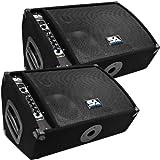 Seismic Audio - FL-10MP-PW-Pair - Pair of Premium Powered 2-Way 10'' Floor / Stage Monitors with Titanium Horns