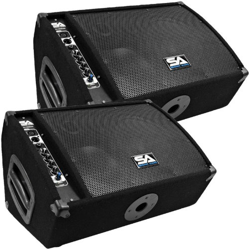Seismic Audio - FL-10MP-PW-Pair - Pair of Premium Powered 2-Way 10'' Floor / Stage Monitors with Titanium Horns by Seismic Audio