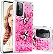 Miagon Liquid Silicone Case for Samsung Galaxy A72,Soft Glitter Shockproof Cover Floating Bling Sparkle Shiny