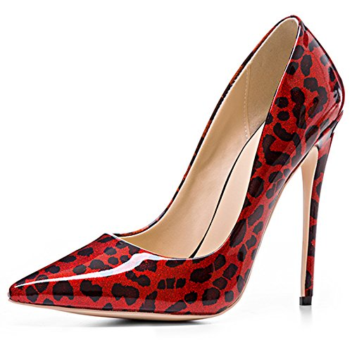 Chris-T Womens Mixed Colors Pointed Toe Stilettos High Heels Dress Pumps Shoes Red Leopard