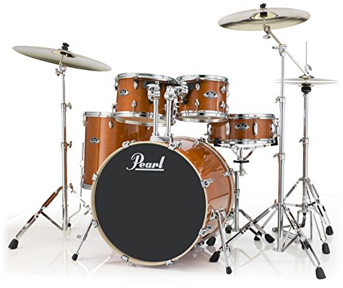 Pearl Export Lacquer EXL725S/C249 5-Piece New Fusion Drum Set with Hardware, Honey Amber ()