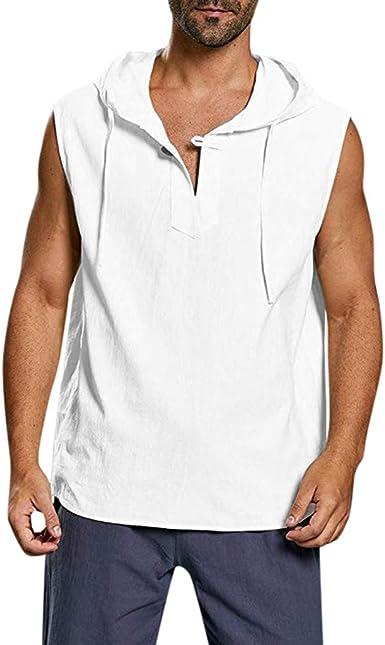 Sylar Camisetas Sin Mangas Hombre Camisetas Hombre Tirantes Chaleco con Capucha Camisetas Hombre Verano Color Sólido Moda Camisetas Top Deportivas Hombre Camisas De Algodón Y Lino: Amazon.es: Ropa y accesorios