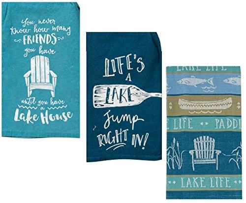 - 3 Lake Kitchen Towels Bundle Set- Lake Life, Life's a Lake and Lake House Decor Theme