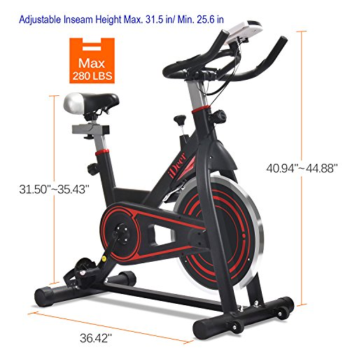 IDeer Exercise Bike Indoor Workout Cycling Bike, Height Adjustable Sport Stationary Bicycle with Heart Pulse Sensors & LCD Monitor, Max User Weight:280lbs,for Home Gym Cardio Exercise