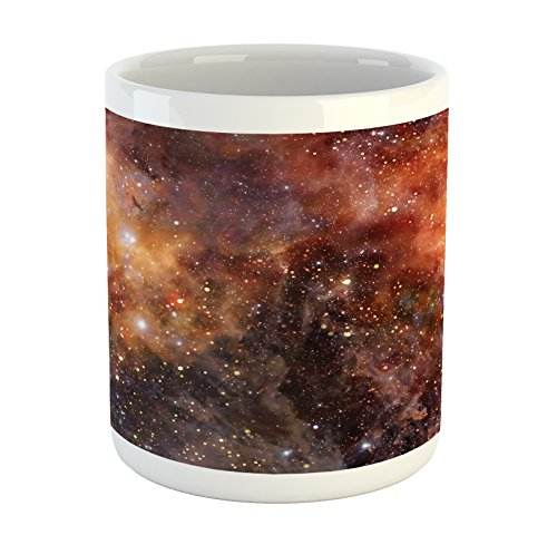 Print Drink - Ambesonne Outer Space Mug, Nebula Gas Cloud in Deep Outer Space Galaxy Expanse Milky Way Print, Printed Ceramic Coffee Mug Water Tea Drinks Cup, Burnt Orange Black