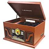 Lauson CL506 Nostalgic Classic Turntable Entertainment Center 3 Speed, Supports Vinyl to MP3 Recording, USB Mp3 Playback, Radio, and RCA Output, Natural Wood.