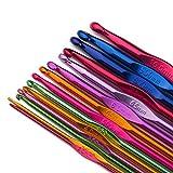Luxbon 14 Sizes Multi-Coloured Aluminum 2mm-10mm Handle Crochet Hooks Knitting Knit Needles Weave Yarn Set: more info