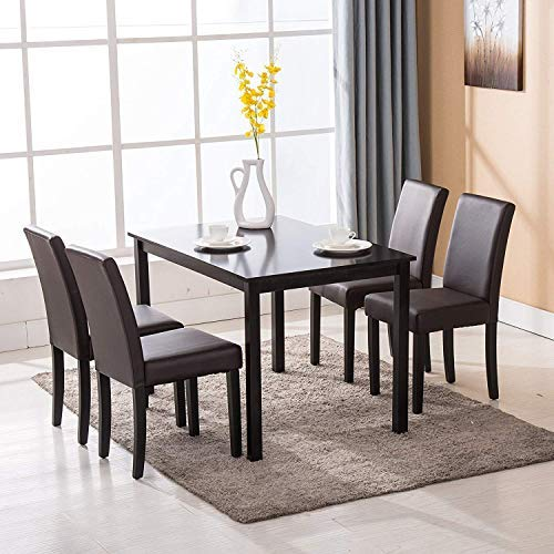 Dining Leather - Mecor 5 Piece Dining Table Set Wood Table/4 Leather Chairs Kitchen Room Breakfast Furniture(Brown)