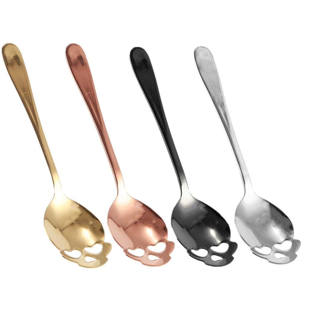 4Pcs Skull Stainless Steel Coffee Drink Mixing Spoon Tableware Kitchen Teaspoon,Stainless Steel Cooking Spoons,Kitchen Tool,Home Supplies,Spoon for Bar (Multicolor) AmaSells